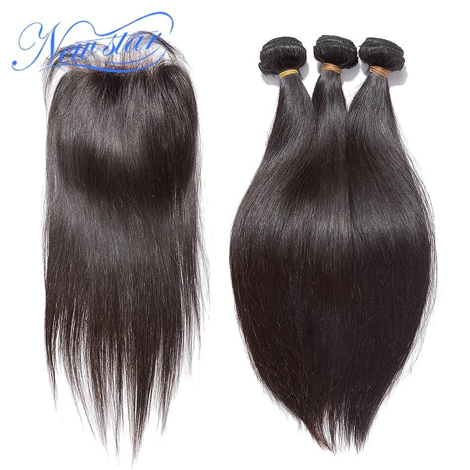 Brasileira Virgem Do Cabelo Humano Em Linha Reta 3 Pacotes de Tecelagem Com Um 4x4 Fechamento Rendas Parte Livre Guangzhou New Star Produtos para o cabelo