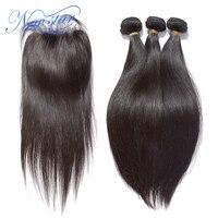 Brazilian Virgin Straight Human Hair 3 Bundles Weaving With A 4x4 Lace Free Part Closure Guangzhou