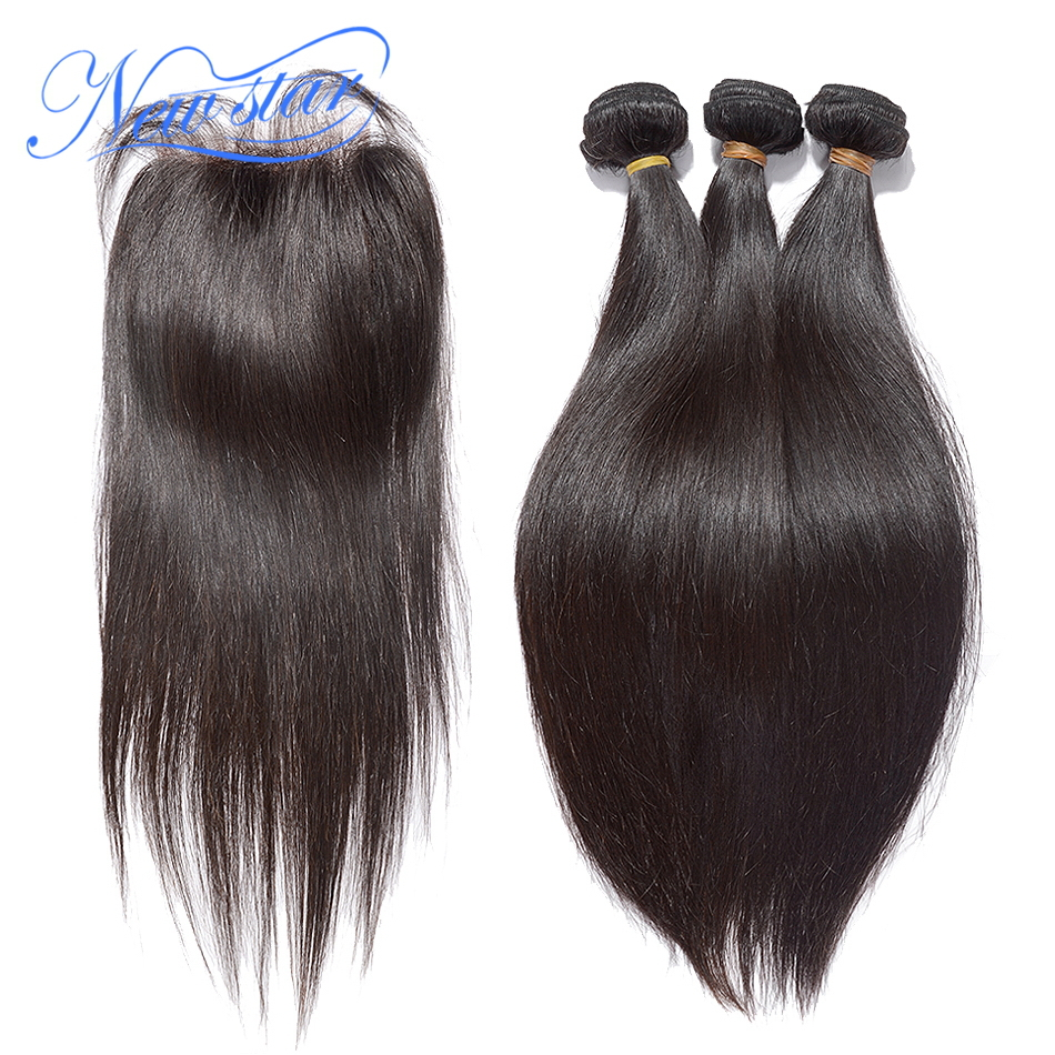 Brazilian Virgin Straight Human Hair 3 Bundles Weaving With A 4x4 Lace Free Part Closure Guangzhou New Star Hair Products
