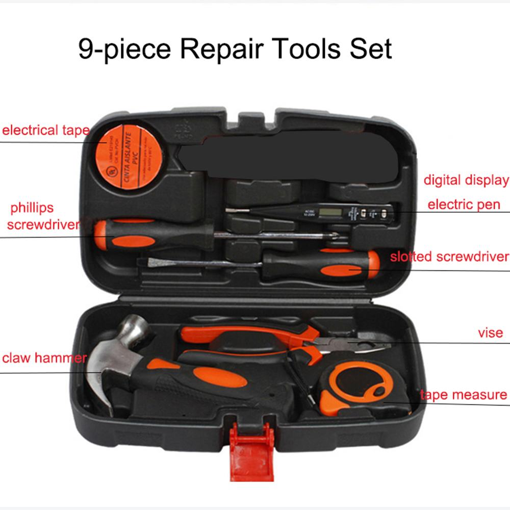 Outils à main outils manuels 9 pièces ensemble bois boîte à outils électrique costume maison combinaison réparation outil ensemble boîte à outils