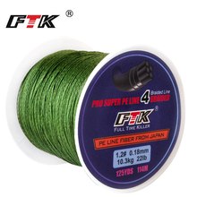 FTK 114M/300M/500M 125 yardas PE alambre trenzado para pesca 4 hilos 0,10mm-0,40mm 8LB-60LB Japón fuerte línea de fibra multifilamento