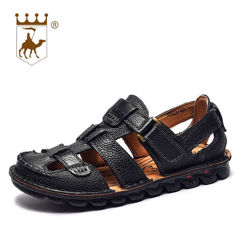 BACKCAMEL New Summer Sandals Mænds Læder Baotou Beach Sko Hook Loop - Mænds sko