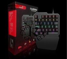Coolbaby RS-7 7 Cores Luz de Fundo LED 35 teclas Mão Única Teclado Gaming Profissional Teclado USB Com Fio Anti-Ghosting Para jogo
