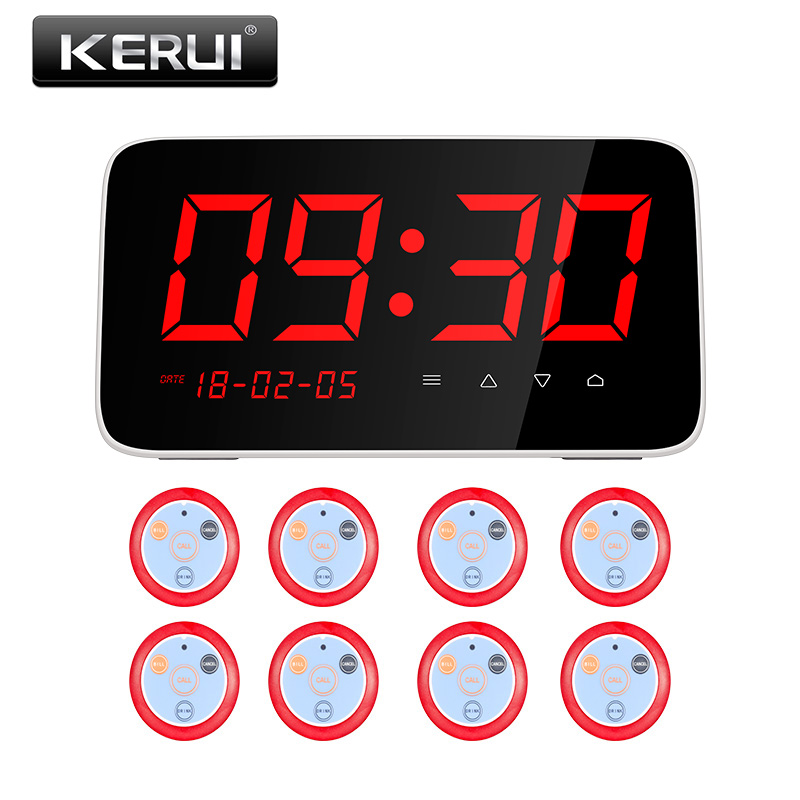 Kerui C1 Wireless Restaurant Calling System Table Call System With 8 Call Pager Button Emergency Push Button