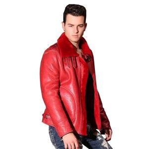 Image 2 - Qualität Dicken schaffell mantel lammfell pelz Männlichen Formal Red Lammfell Kleidung echtes lammfell mantel für männer Outwear