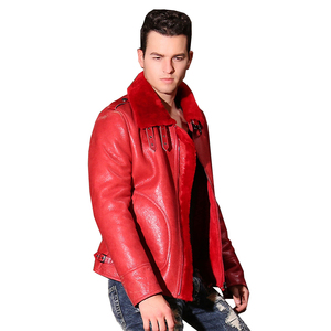 Image 2 - Quality Thick sheepskin coat shearling fur coat Male Formal Red Shearling Clothing genuine shearling coat for men Outwear