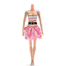 Fashion Dresses for Dolls 1Pc NEW Rainbow Color Striped Top Printed Tutu Skirt Doll Dress Clothes Accessories(China)