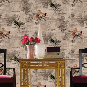 Chinese American Country Retro Bird Wallpaper Bedroom Living Room TV Backdrop Study Clubs Printing Personalized Wallpaper