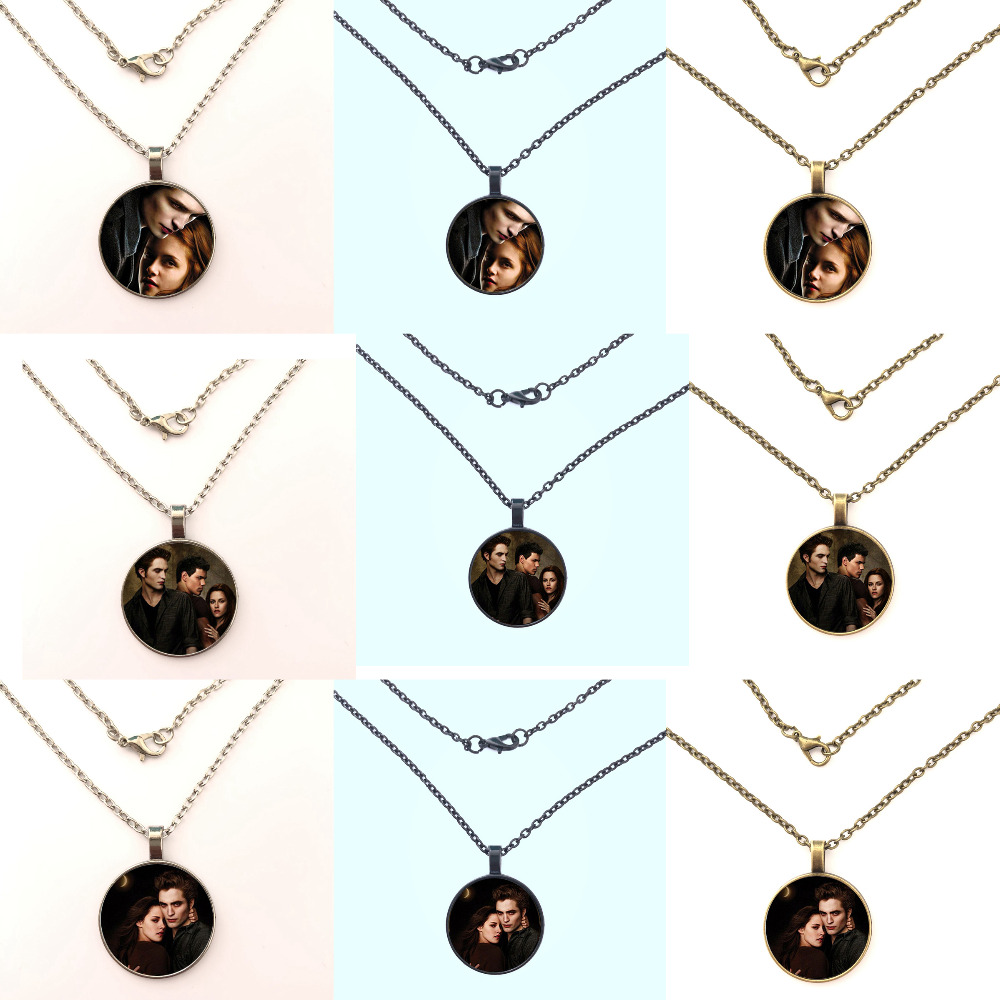 2019 new fashion women or men Twilight Glass Charm Glass Necklaces Edward Cullen Bella Swan Jacob Black jewelry in Pendant Necklaces from Jewelry Accessories