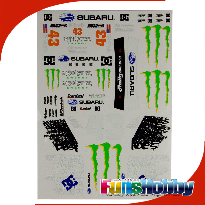 Faceworx 1 10 rc model car on road drift tamiya serpent decal sticker paper subaru dc moster fwd004 free shipping in decals stickers from automobiles