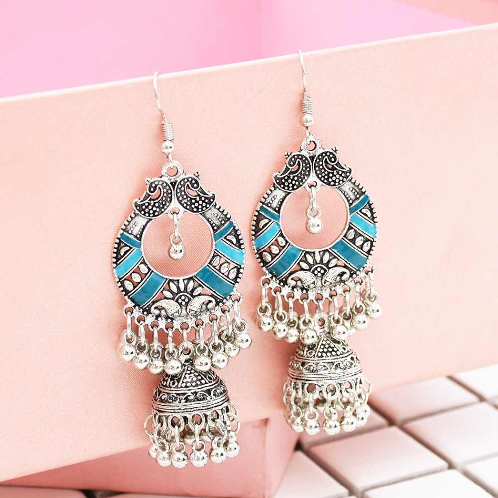 Egypt Vintage Silver Alloy Jhumka Bells Beads Tassel Statement Earrings for Women Turkish Tribal Gypsy Indian Jewelry Party
