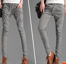 2016 весна повседневная drawstring брюки женские тонкие шаровары карандаш брюки шнуровкой длинные брюки