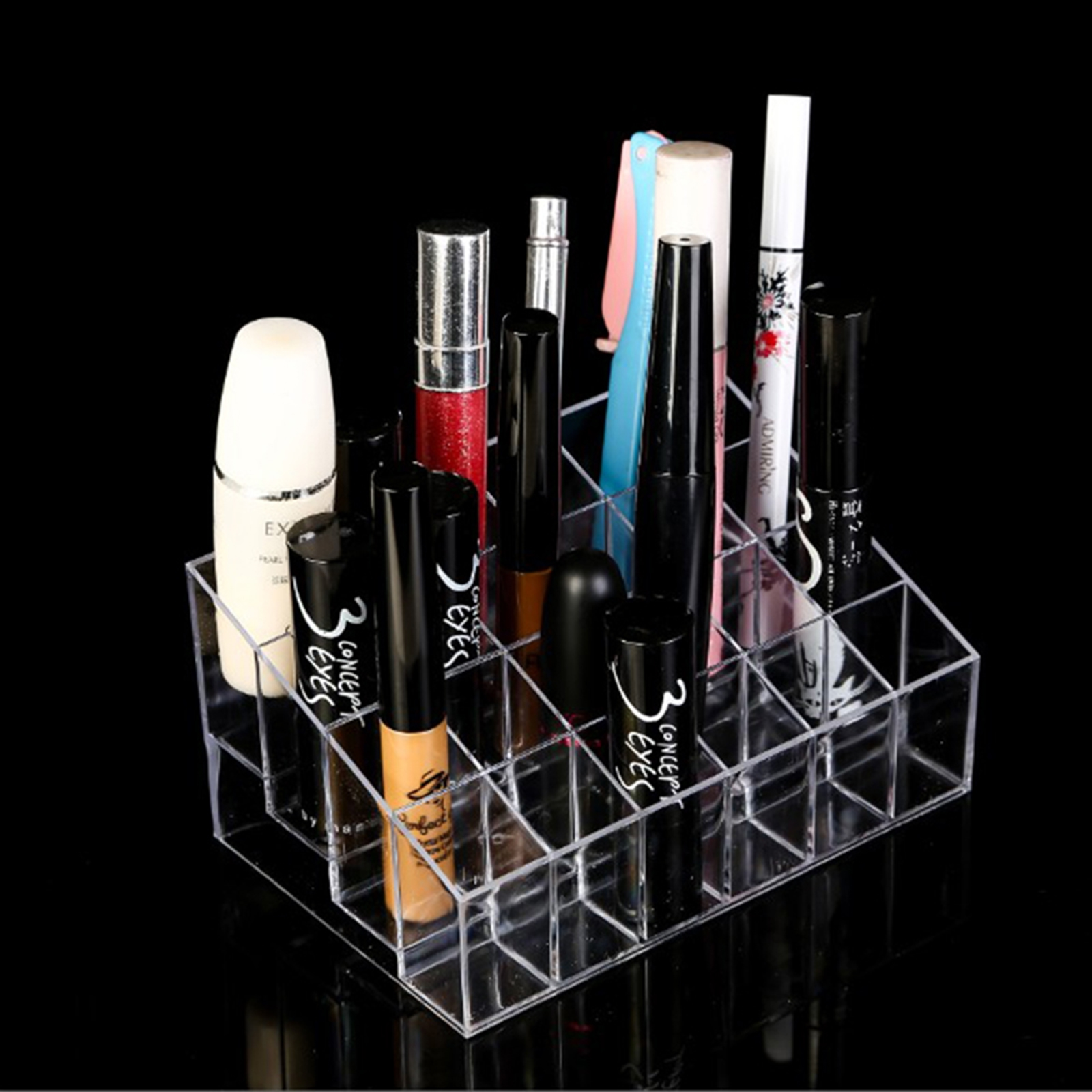 24 Lipstick Holder Display Stand Clear Acrylic Cosmetic