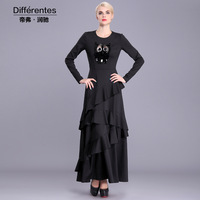 Muslim Cotton Clothing Islamic Long Dress Autumn Winter Dress Long Sleeve Fit And Flare Maxi Dresses