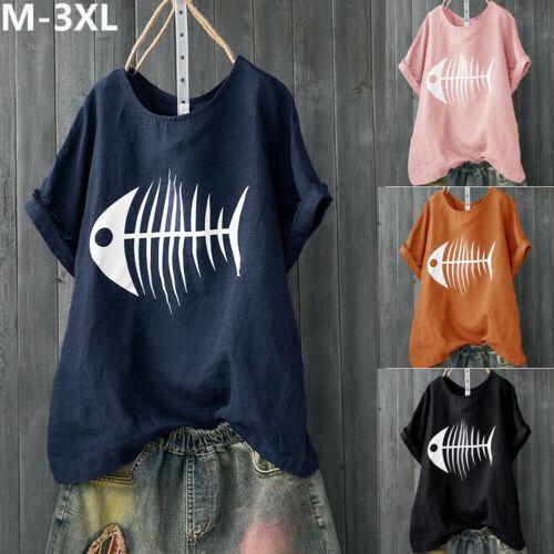 Summer Women Fish Bone Tops Solid Short Sleeve Crew Neck Floral Casual Loosen T-Shirt Plus Size