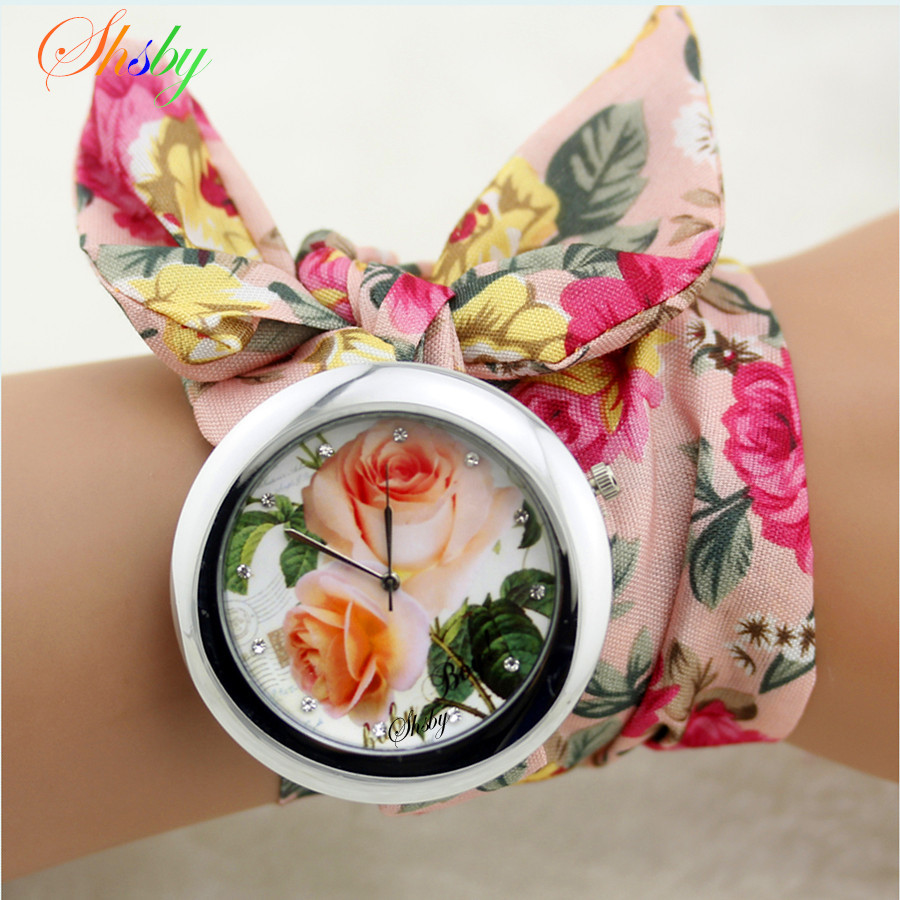 Shsby New Design  Ladies Flower Cloth Wrist Watch Fashion Women Dress Watch High Quality Fabric Watch Sweet Girls Watch