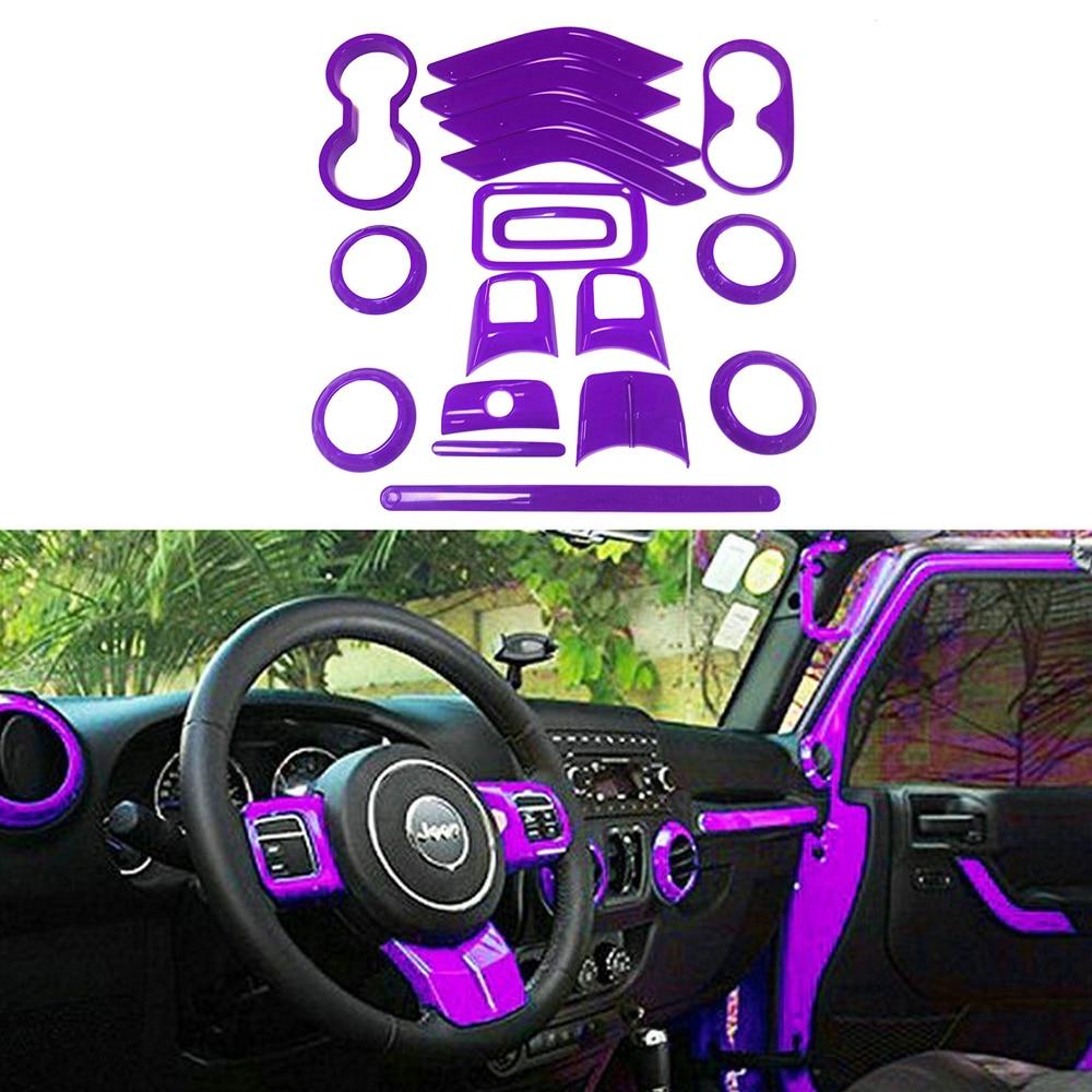 18pcs Purple Full Set Interior Decor Trim Kit Door Handle