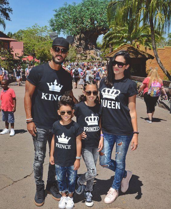 1 STÜCKE KÖNIG KÖNIGIN PRINZ PRINZESSIN Lustige Brief Familie Druck T-shirt Crown Muster Paar Frauen Casual Tops Sommer Familie Aussehen t
