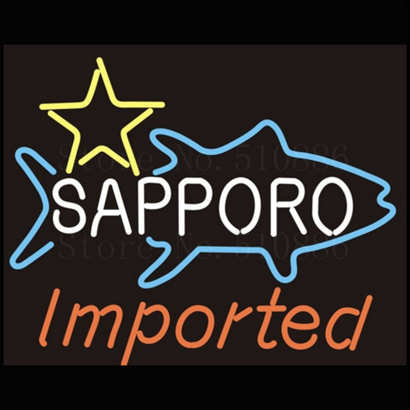 Sapporo Import Neon Sign Lamp Fairy lights real glass Neon  sign Boards Neon Sign Beer Bar Pub Arts Craft custom LOGO Sign 17X14