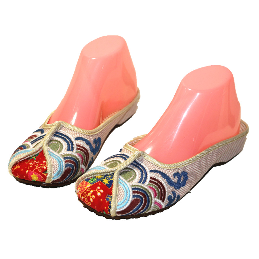 Ethnic Embroidered Women Slippers Ladies Wedges Slides Cotton Fabric Round Toe Canvas Mules Casual Pumps Shoe Propitious Clouds 2