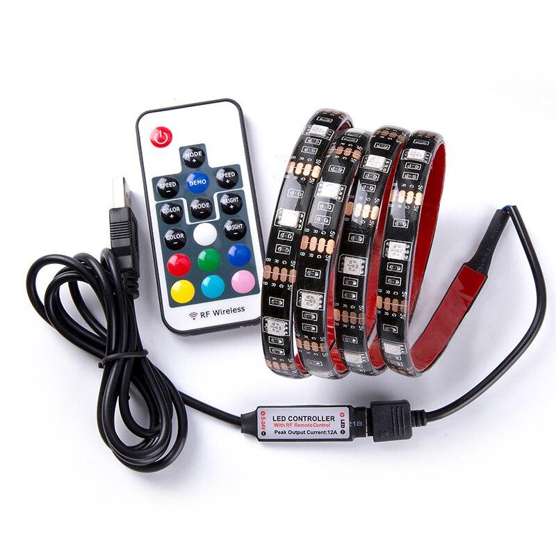 Купить на aliexpress DC 5 В USB RGB светодио дный полосы SMD 5050 Гибкие свет лампы светодио дный свет ТВ фонового освещения клейкая лента 50 см 1 м 2 м 3 м 4 м 5 м