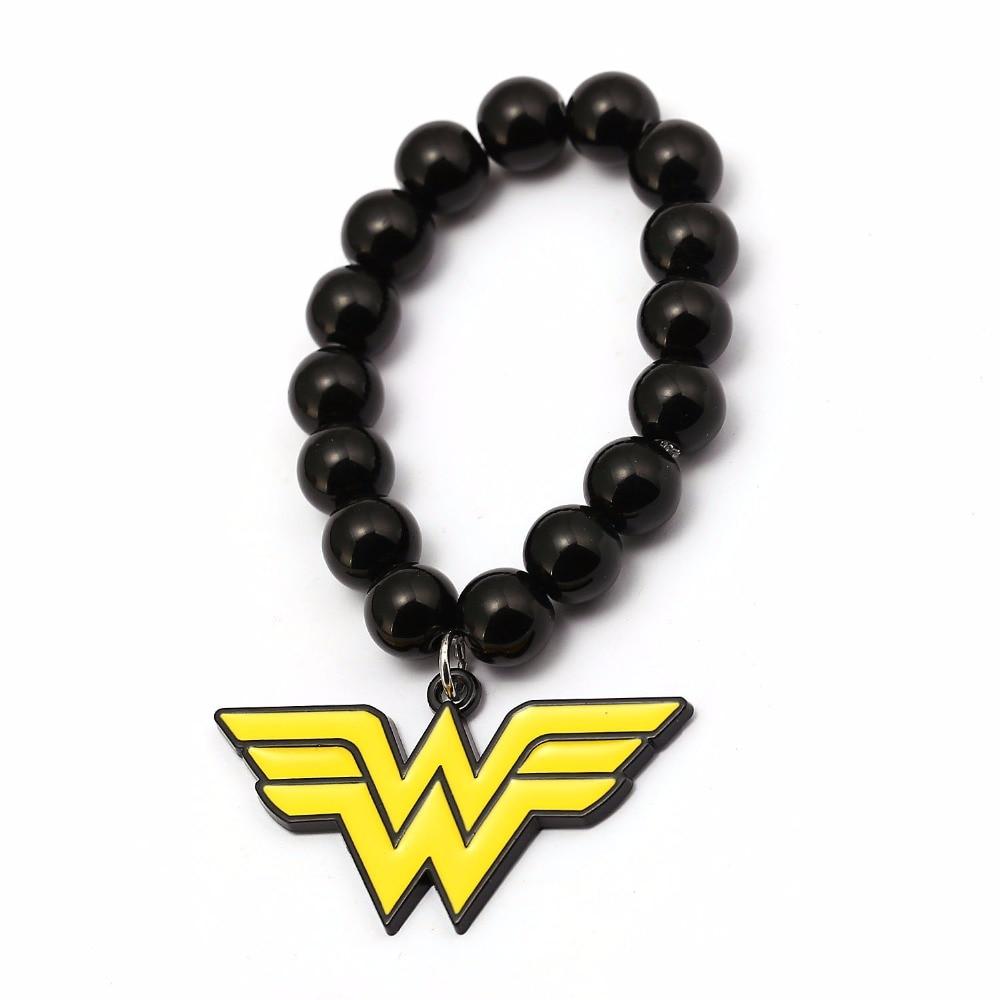 Чудо-Женщина Черный Лава камень браслет из бисера 10 мм Бусины Браслеты для Для женщин Для мужчин ювелирные браслеты Hombre hc12428