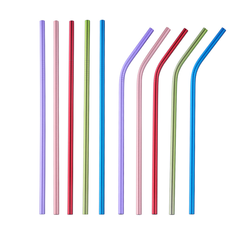 New Stainless Steel Colorful Drinking Straw With Silicone Tips And Cleaner Brush Bar Accessories