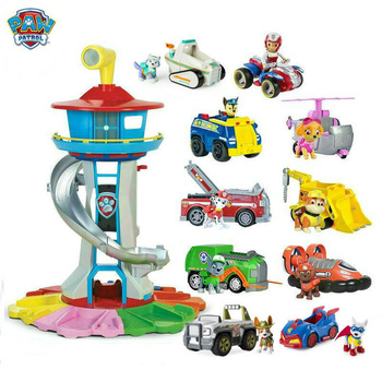 Genuine PAW Patrol My Size Lookout Tower with Exclusive Vehicle, Rotating Periscope Ryder Everest tracker Apollo children toy