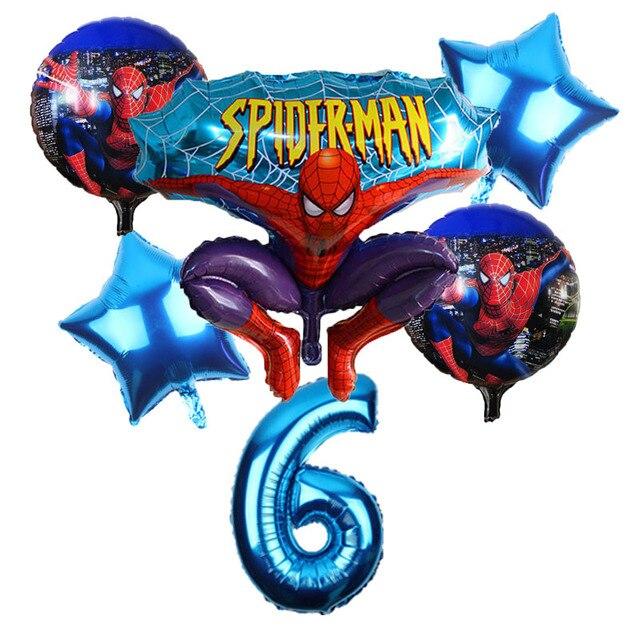 Frete Grátis 6 pçs/lote Spiderman Foil Birthday Party Balloon Decoração Brinquedos Para Crianças presente 32 polegada Número Balão Atacado