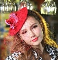 Free Shipping Women Fascinator Hat Wool Fabric Flower Mesh Girl Hair Accessories Hairband Princess Bridal Hair