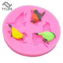 TTLIFE 4 Holes Sparrow Silicone Mold Birds Fondant Cake Pastry Decorating DIY Tool Chocolate Cookie Baking Moulds Kitchen Gadget