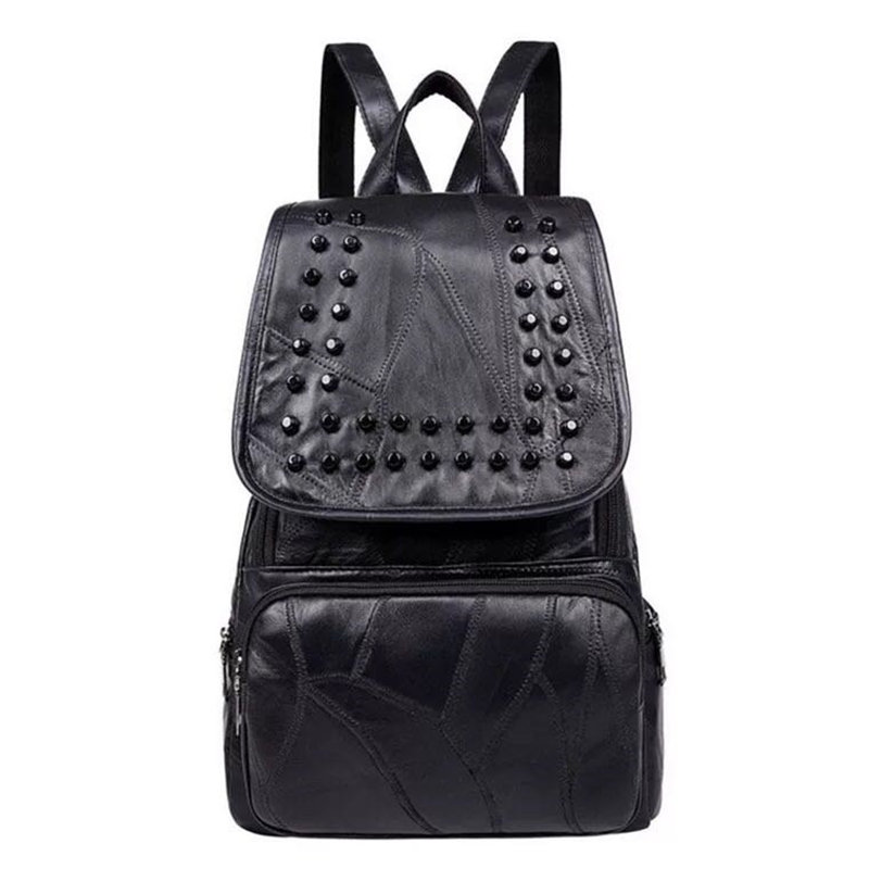 New Style Style Backpack Women PU Leather Backpacks For Teenage Girls School Bags Fashion Studs Solid Black Shoulder Bag tegaote new design women backpack bags fashion mini bag with monkey chain nylon school bag for teenage girls women shoulder bags
