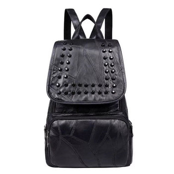 New Style Style Backpack Women PU Leather Backpacks For Teenage Girls School Bags Fashion Studs Solid Black Shoulder Bag fashion genuine leather bag women weaving style bags girls school bags zipper shoulder women s back pack girls bag mochila