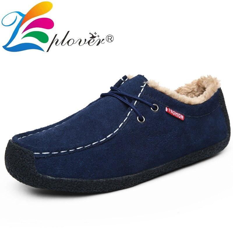 Men Casual Shoes Suede Leather Winter Shoes Men Loafers Brand Winter Plush Black Moccasins Men Footwear