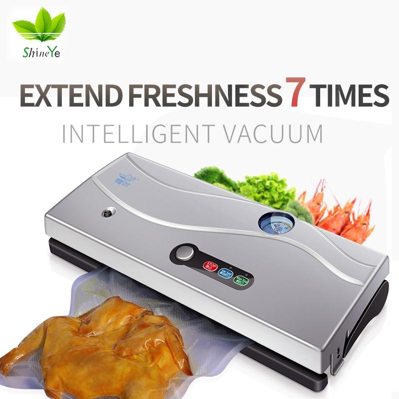 ShineYe 220 V/110 V Domestica Alimentare Vacuum Sealer Macchina Imballatrice Pellicola L'imballatore di Vuoto Contenitore di Cibo Sealer Saver Includono 10 Pz Borse