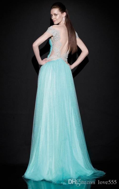 Backless Evening Dresses 2016 Bateau Vestidos De Festa Ruffled Tulle Sweep Train Light Sky Blue Bridesmaid Dresses Evening Gown