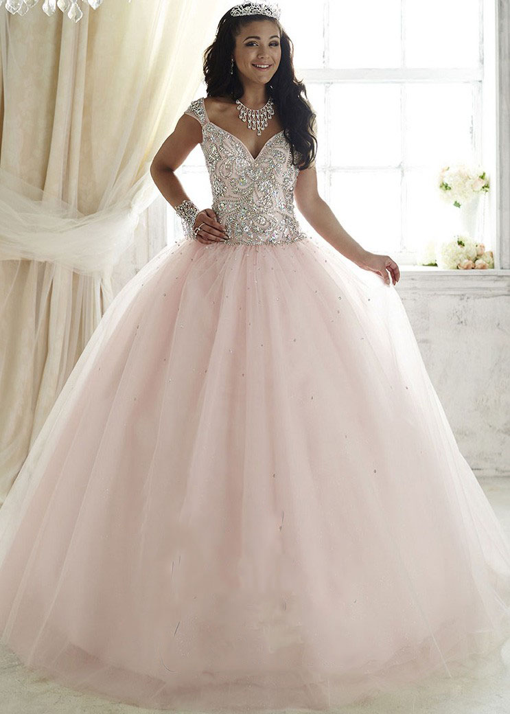 Elegant pink pale ball gown plus size prom dress with sweetheart ...