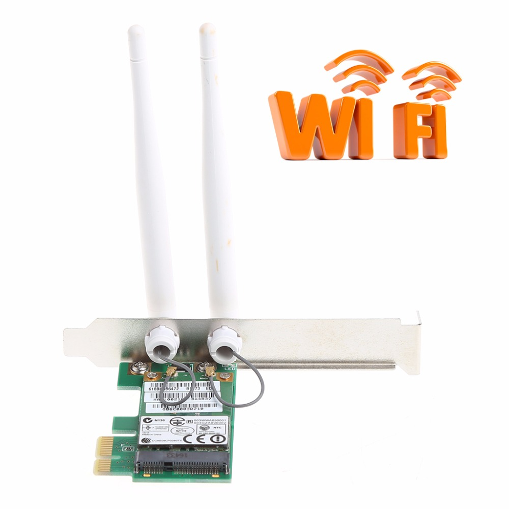 AR9281 Desktop Wlan Wireless Wifi PCI-E Card Adapter PCI-1X 300M With Double Undetachable Antenna