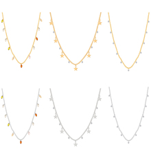New Crystal Chain Necklace Pendants Women Simple Exquisite Clavicle Long Statement 6 Pcs/ Set