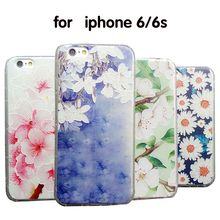 3 d relief TPU soft cover Magnolia flower coloured drawing or pattern For iphone 5s 6s