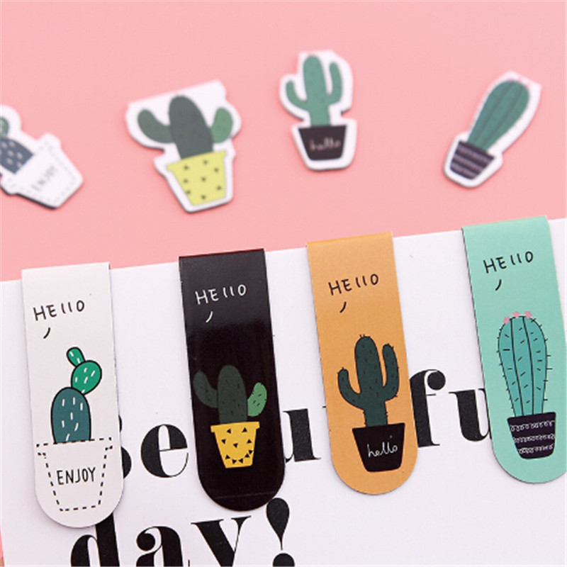 2Pcs /Set Fresh Cute Cactus Potted Magnetic Bookmarks Books Marker Of Page Student Stationery School Office Supply