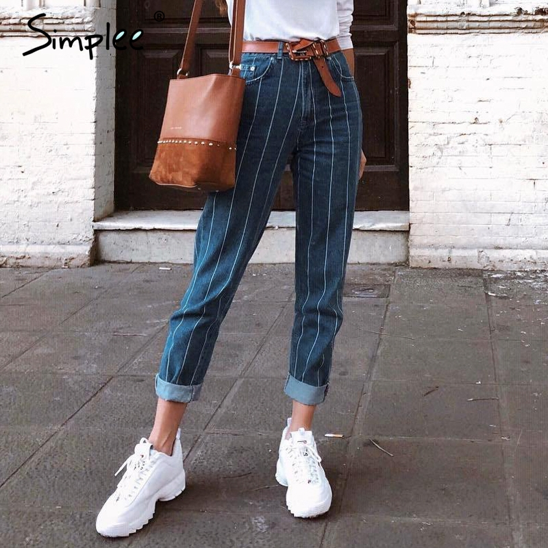 Simplee Sexy Stripe Blue Jeans Women Pants Zipper Pocket Denim Pants Casual Streetwaer Autumn Trousers 2018 High Waist Pants