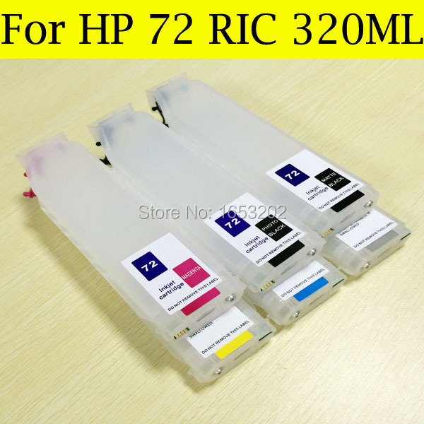 6 Color/Set (320ML) Empty Refillable 72 Ink Cartridge For HP 72 T610 T770 T790 T1200 Printer With HP72 Permanent Chip 320ml 4 colors refillable ink cartridge for hp 82 with permanent chip for hp 510 printer bulk ink cartridge