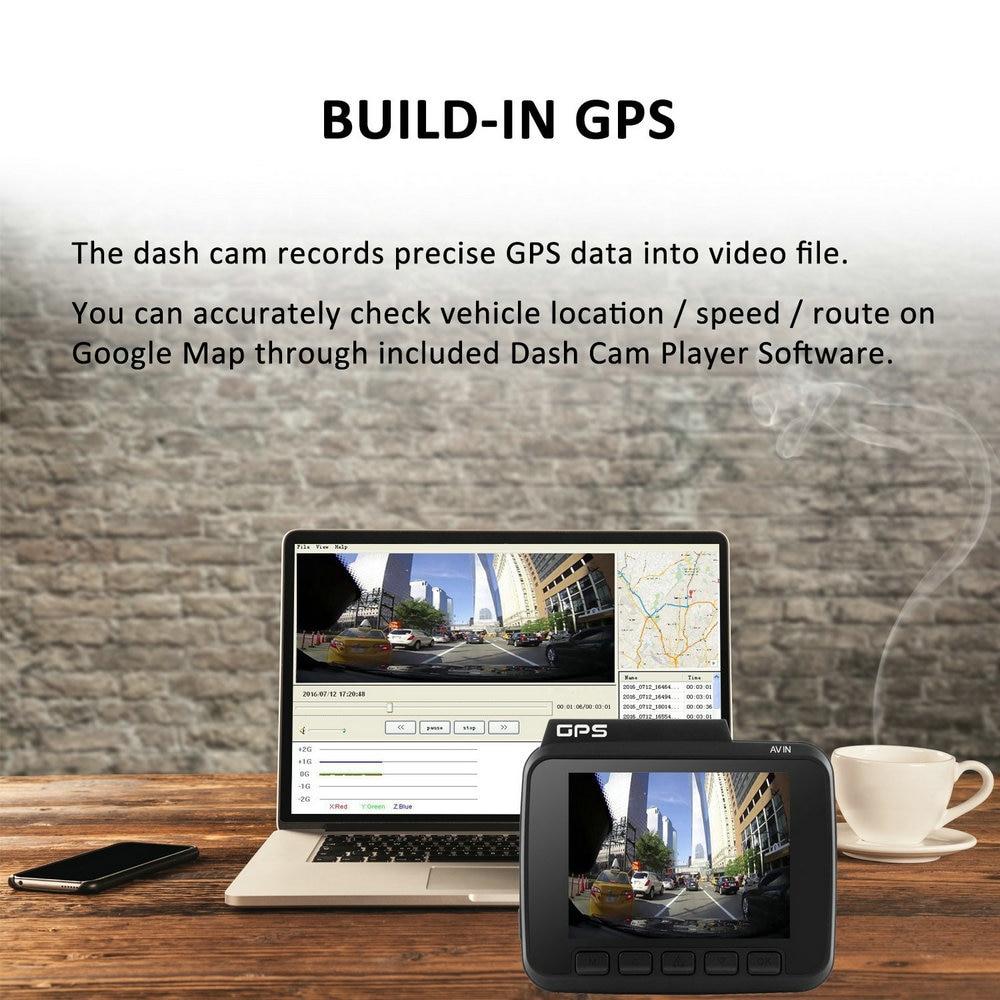Dual Lens GS63D WiFi FHD 1080P Front Dash Cam Novatek 96660 Camera Built in GPS + VGA Rear Car DVR Recorder 2880 x 2160P - 5