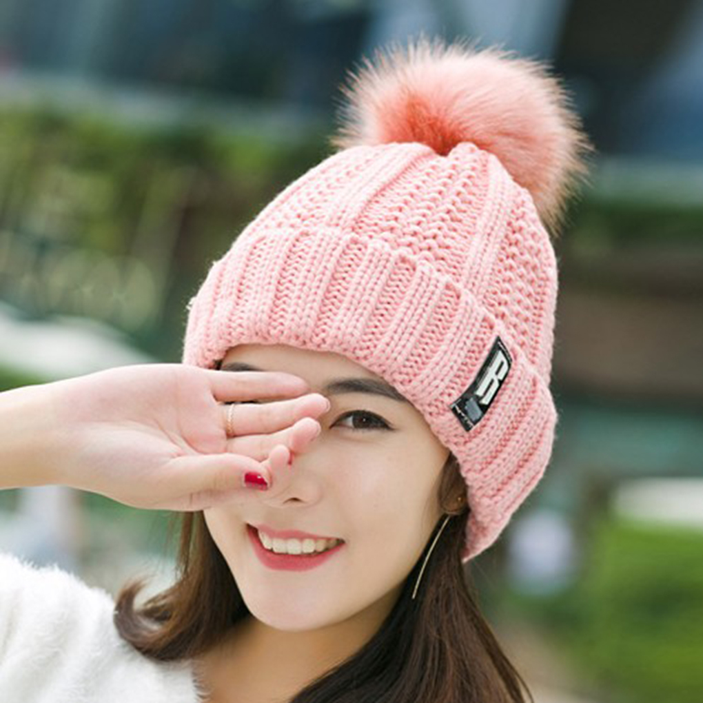 Women Thickened Warm Hat Pompom Ball Decor Solid Color Girls Knitted Winter/Autumn Beanie Cap