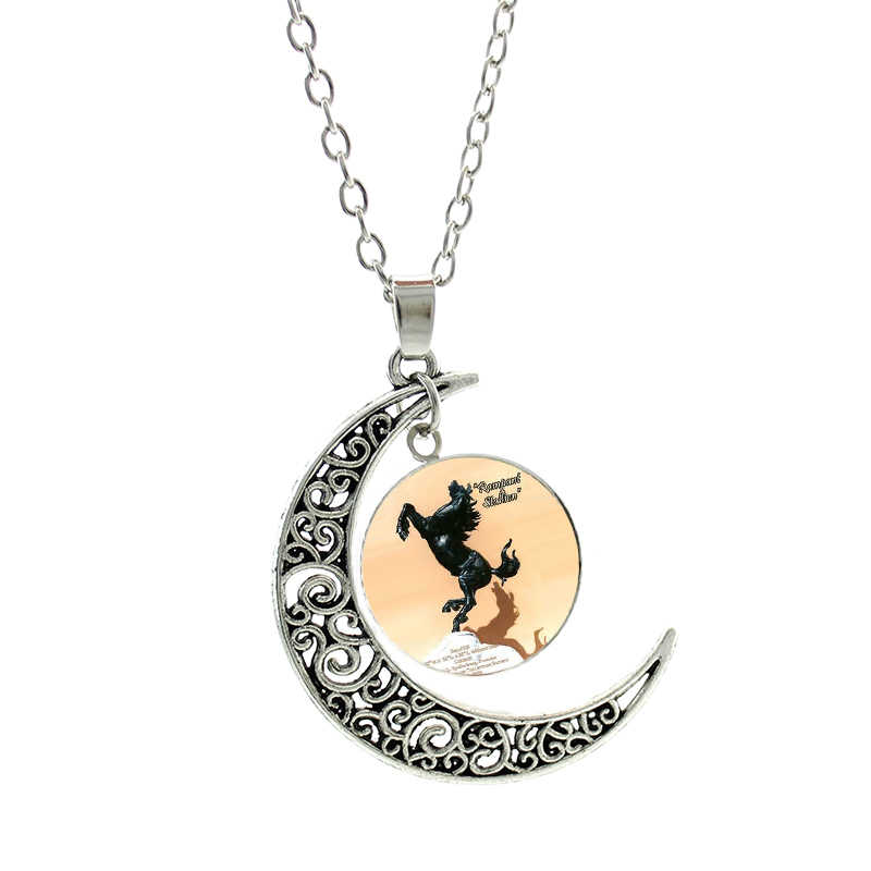 TAFREE vintage glass dome I Love Horse Riding statement pendant necklace men women moon charms Equestrian sports jewelry SP533