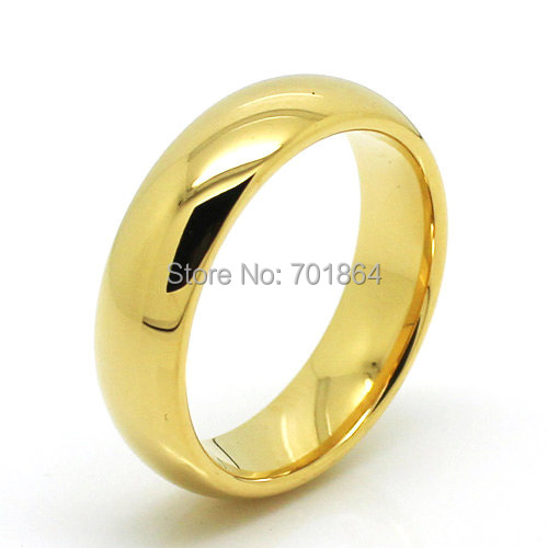 US Size 5 13 Couple Ring Tungsten Carbide Wedding Ring 6mm width Gold Color P
