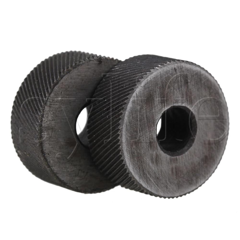 2PCS 0.6mm Pitch Diagonal Coarse 19mm OD Knurling Wheel Roller Tool Steel