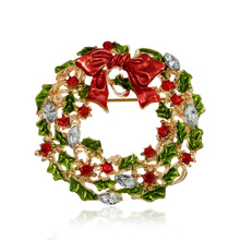 Fashion Christmas Wreath Brooch Cute Jewelry Christmas Gift Pins and Brooches Crystal mosaic Collar Clip Scarf Buckle Jewelry fashion christmas wreath brooch cute jewelry christmas gift pins and brooches crystal mosaic collar clip scarf buckle jewelry