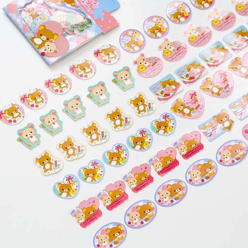 T47 60pcs Kawaii Sweet Bow Package Romantic Rilakkuma Clear Mini Stickers Phone Bottle DIY Decorative Stick Label